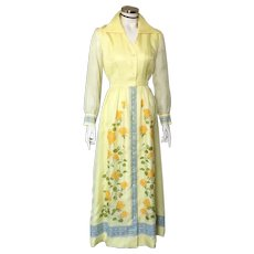 1960s Yellow Alfred Shaheen Sheer Yellow Floral Rose Print Dress S M