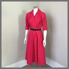 Vintage 1980s Deep Pinkish Red Shirtwaist Shirt Waist Dress  M L