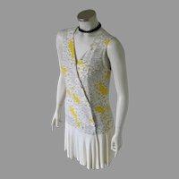 Authentic Vintage 1970s Dropped Waist Slinky Mod Dress White Black Yellow Print S