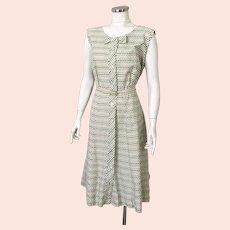 Vintage 1950s Striped Floral Print Summer Dress by Pat Perkins XL B46 W36 Volup