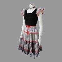Vintage 1970s Black White Calico Print Dress Red Trim Peasant Prairie Country S M
