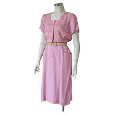 Vintage 1960s Pink Dress with Embroidery by Kay Whitney M