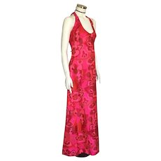 Vintage 1970s Bright Pink Silk Tropical Print Halter Dress Maxi S