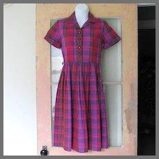 Vintage 1960s NWT NOS Shirtwaist Dress Pink Purple Red Plaid XS S