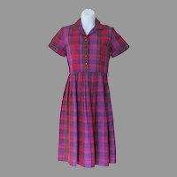 Vintage 1960s NWT NOS Shirtwaist Dress Pink Purple Red Plaid XS S