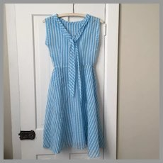 Vintage 1950s Turquoise and White Striped Sheer Dress with Belt XS B32