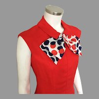 Vintage 1960s Red Linen Weave Summer Sheath Dress by Adele Simpson with Polka Dot Scarf M