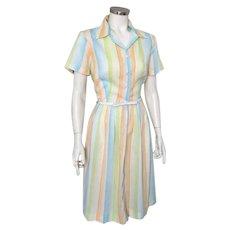 Vintage 1960s Summer Sherbet Rainbow White Striped Day Dress M