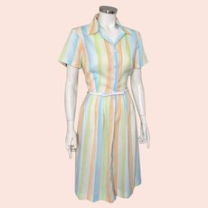 Vintage 1960s Summer Sherbet Rainbow White Striped Day Dress M