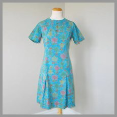 Vintage 1960s Novelty Print Shift Dress Turquoise Pink Gold Lime M