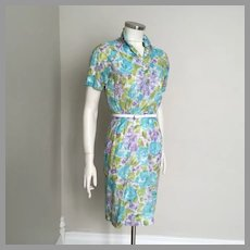 Vintage 1960s Lightweight Spring Summer Abstract Watercolor Floral Print Blue Green Purple White XS S