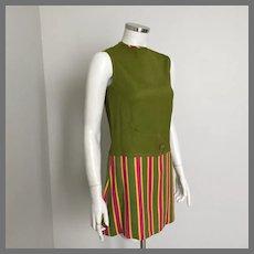Vintage 1960s Carnaby Mod Striped Mini Dress XS S