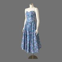 Vintage 1980s Teal Purple Blue Floral Print Bustier Sundress XS