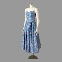 Vintage 1980s Teal Purple Blue Floral Print Bustier Sundress XS