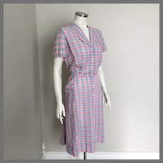 Vintage 1950s Hattie Leeds Day Dress Housedress Red White Blue Woven Plaid XL