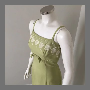 Vintage 1960s Border Embroidered Empire Cut Sundress Dress of Olive Green Linen by Ellen Kaye M