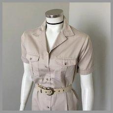1980s Vintage Khaki Safari Dress LL Bean M