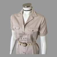 1980s Vintage Khaki Safari Dress LL Bean M