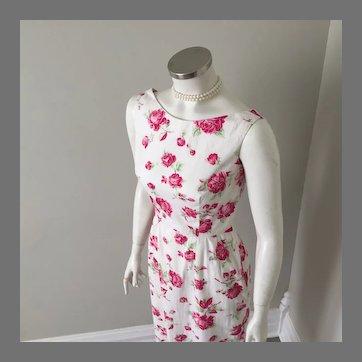 Vintage 1950s 1990s Rose Print Sheath Dress Cream Red Green S