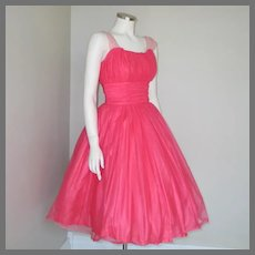Vintage 1960s Bright Pink Fit and Flare Cocktail Party Dream Dress XS S