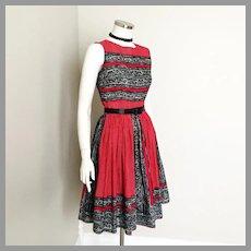 Vintage 1980s Sheer Polka Dot Border Print Anne Fogarty Signature Red Black White Sleeveless Dress XS S