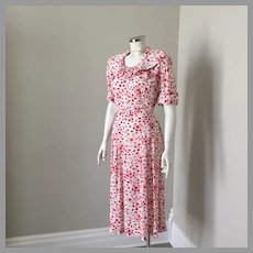 1940s Vintage Red White Slinky Cool Rayon Abstract Print Dress with Self Belt M