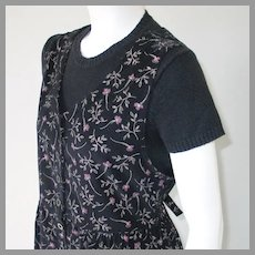 Vintage Late 80s early 1990s Black Pinwale Floral Corduroy Earth Mother Elaine Dress S