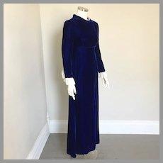 1970s Vintage Deep Sapphire Blue Velvet Maxi Dress by Deb San Francisco XS S