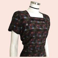Vintage 1960s Dark Autumn Plaid Dress Ensemble with Bolero Jacket and Matching Belt L XL