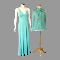 1970s Vintage Aqua Knit Maxi Evening Slip Dress Ensemble with Pussy Bow Jacket M