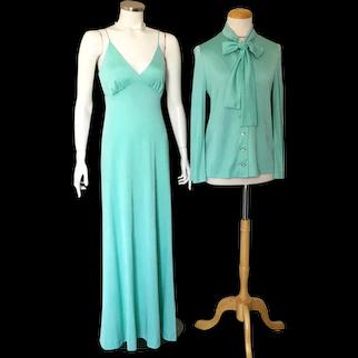 1970s Vintage Aqua Knit Maxi Evening Slip Dress Ensemble with Pussy Bow Jacket M