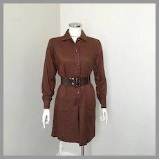 Vintage 1960s Carol Brent Dark Brown Shirtwaist Scooter Skort Dress M L