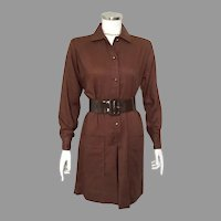 Vintage 1960s Carol Brent Dark Brown Shirtwaist Scooter Skort Dress M L