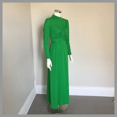 1960s Vintage Green Maxi Formal Evening Dress S M