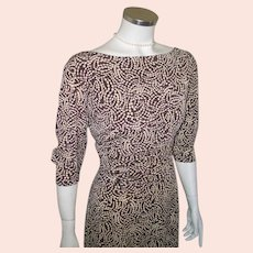 Vintage 1980s Brown and Tan Abstact Swishy Swirl Dress M L