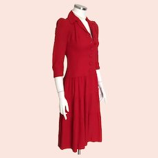 Vintage 1940s Red Wool Tiered Skirt Button Front Dropped Waist Dress XS S