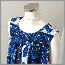 Vintage 1960s Authentic Ui Maikai All Cotton Navy Blue White Muu Muu Shift Dress XL Volup