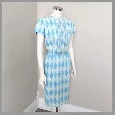 Vintage 1960s Blue and White Blue Harlequin Scroll Print Sheath Dress M B42