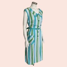 Vintage 1960s Kay Whitney Blue Green White Striped Day Dress Volup XL