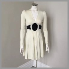 Vintage 1970s Rag Dolls San Francisco Two Tone Black Cream Body Hugging Knit Dress XS S