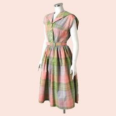 Vintage 1960s Coral Olive Gray Plaid Dress with Enormous Square Collar M