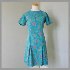 Vintage 1960s Transportation Weather Vane Novelty Print Shift Dress Turquoise Pink Gold Lime M