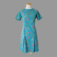 Vintage 1960s Transportation Weather Vane Novelty Print Shift Dress Turquoise Pink Gold Lime M