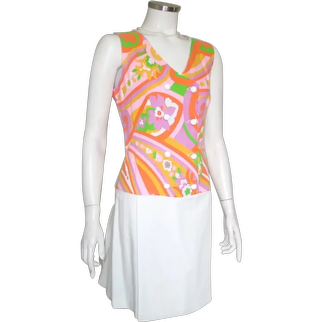 Vintage 1960s Bright and White Mod Paisley Print Scooter Skort Day Dress S