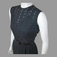 Vintage 1960s Black Eyelet Summer Sheath Dress M