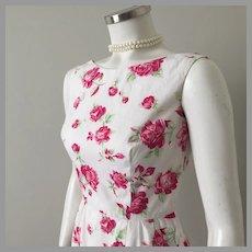 Vintage 1950s Rose Print Sheath Dress Cream Red Green S