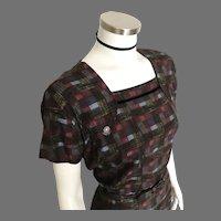 Vintage 1960s Dark Autumn Plaid Dress with Bolero Jacket and Matching Belt L XL XXL