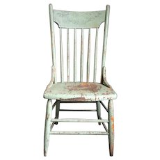 Vintage 1930s Shabby Green and Orange Painted Wood Porch Chair