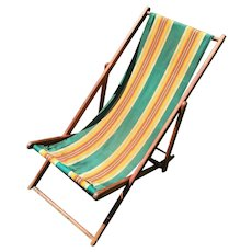 Authentic Vintage 1930s Green Yellow Striped Adjustable Folding Lawn Chair