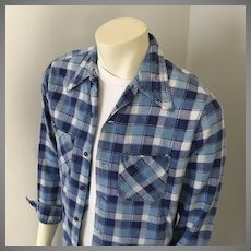 1970s Vintage Blue and White Plaid Flannel Work Shirt by Mr. DeeCee M